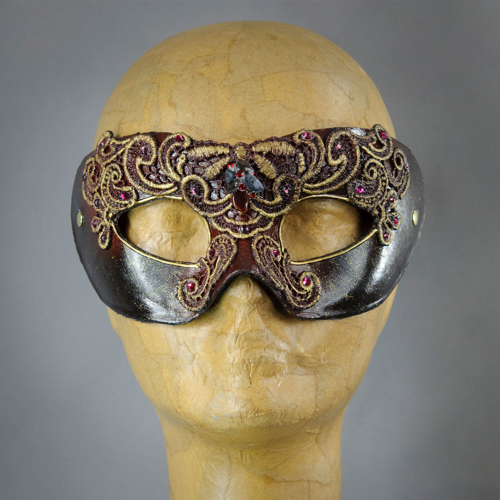 Metallic Russet Red Masquerade Mask with lacquered lace, Swarovski Crystals and assorted gems.