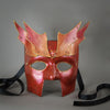 Bronze Warrior Bauta Masquerade mask, with panel armor, metal findings and assorted polished gems. Inspired by medieval armor, this mask is particularly popular for men.  Handmade in the USA using traditional Venetian paper-mache technique. Lined with hypoallergenic stretch velvet for comfort. Detail.