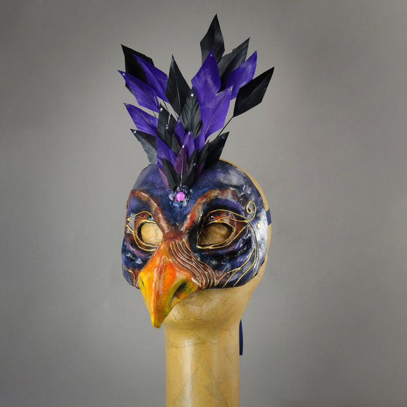 Skeksis inspired mask with diamond cut goose feathers and assorted gems