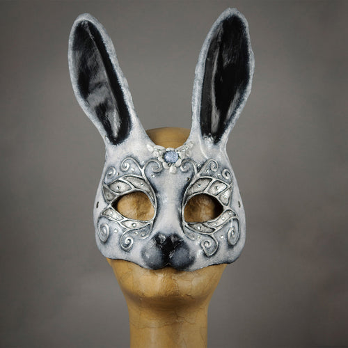 Black, White and Silver Bunny Rabbit Mask with Swarovski Crystals. Detail.