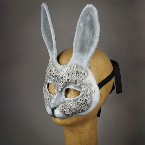 White and Silver Lace Bunny Rabbit Mask with Swarovski Crystals. Side view.