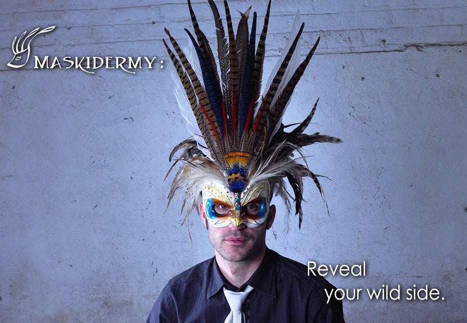 Eriks Inspiration white falcon pheasant mask reveal your wild side