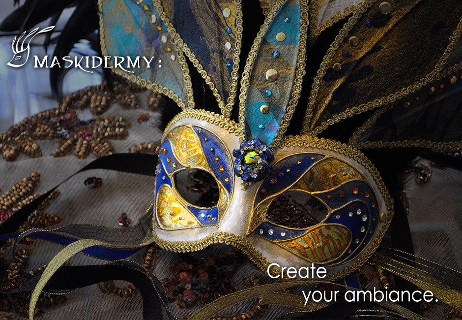 Eriks Inspiration sea princess blue and gold mask maskidermy create your ambiance