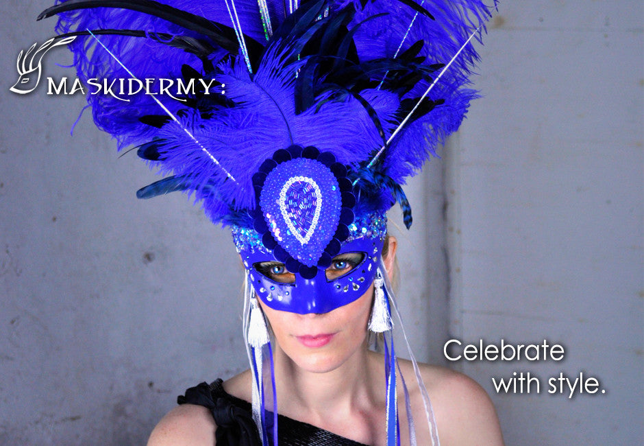 Eriks Inspiration blue showgirl mask maskidermy celebrate with style