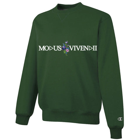 V floral sweatshirt Racing green