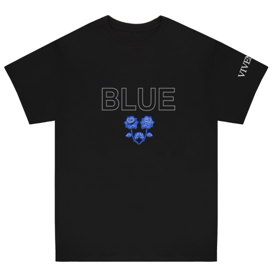 BLUE REFLECTIVE ROSES T-SHIRT