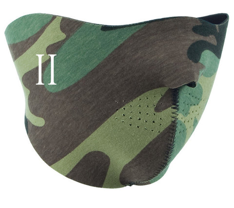 Camo neoprene half face mask