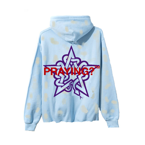 PRAYING? HOODED DISTRESSED SWEAT LIGHT BLUE