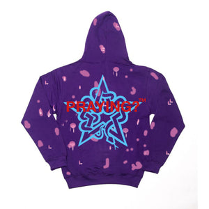 PRAYING? HOODED DISTRESSED SWEAT PURPLE