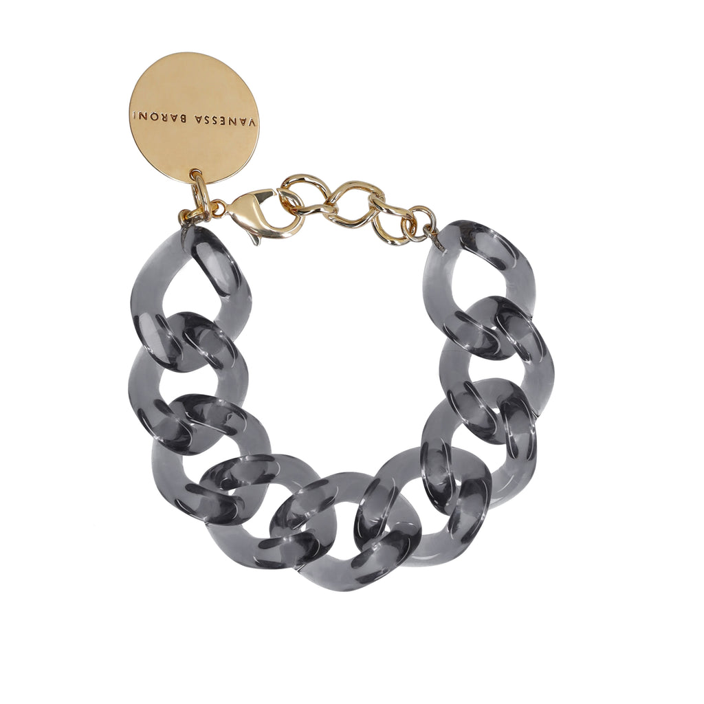 Flat Chain Bracelet clear light grey