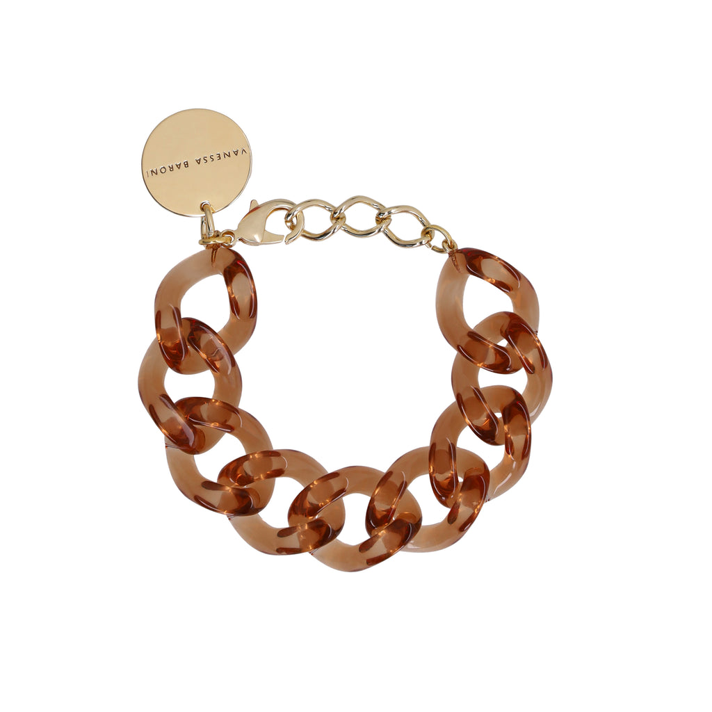Flat Chain Bracelet clear brown