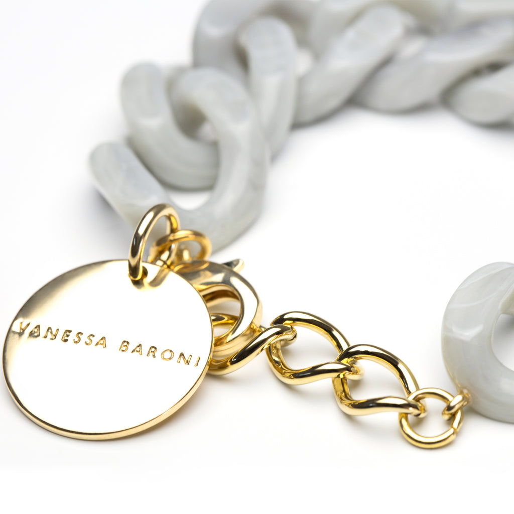 Flat Chain Bracelet light grey