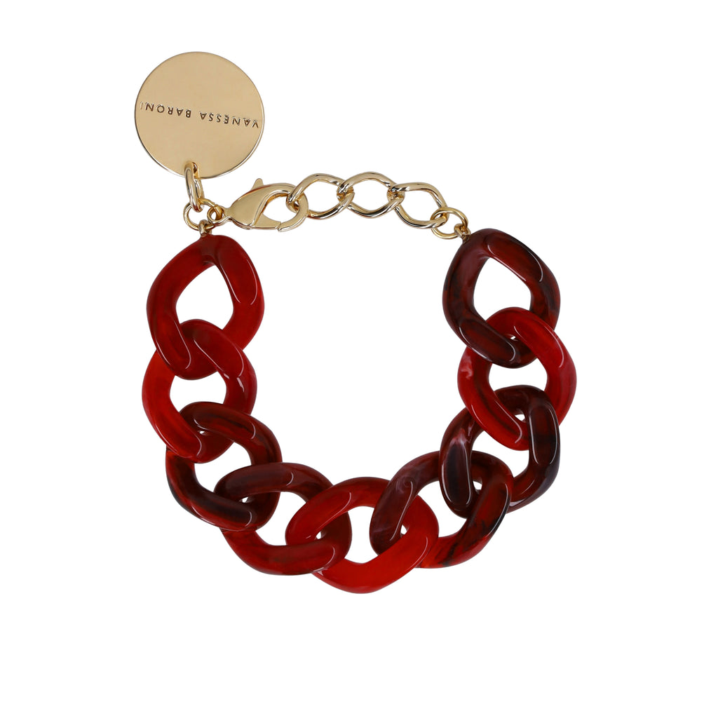 Flat Chain Bracelet red marble