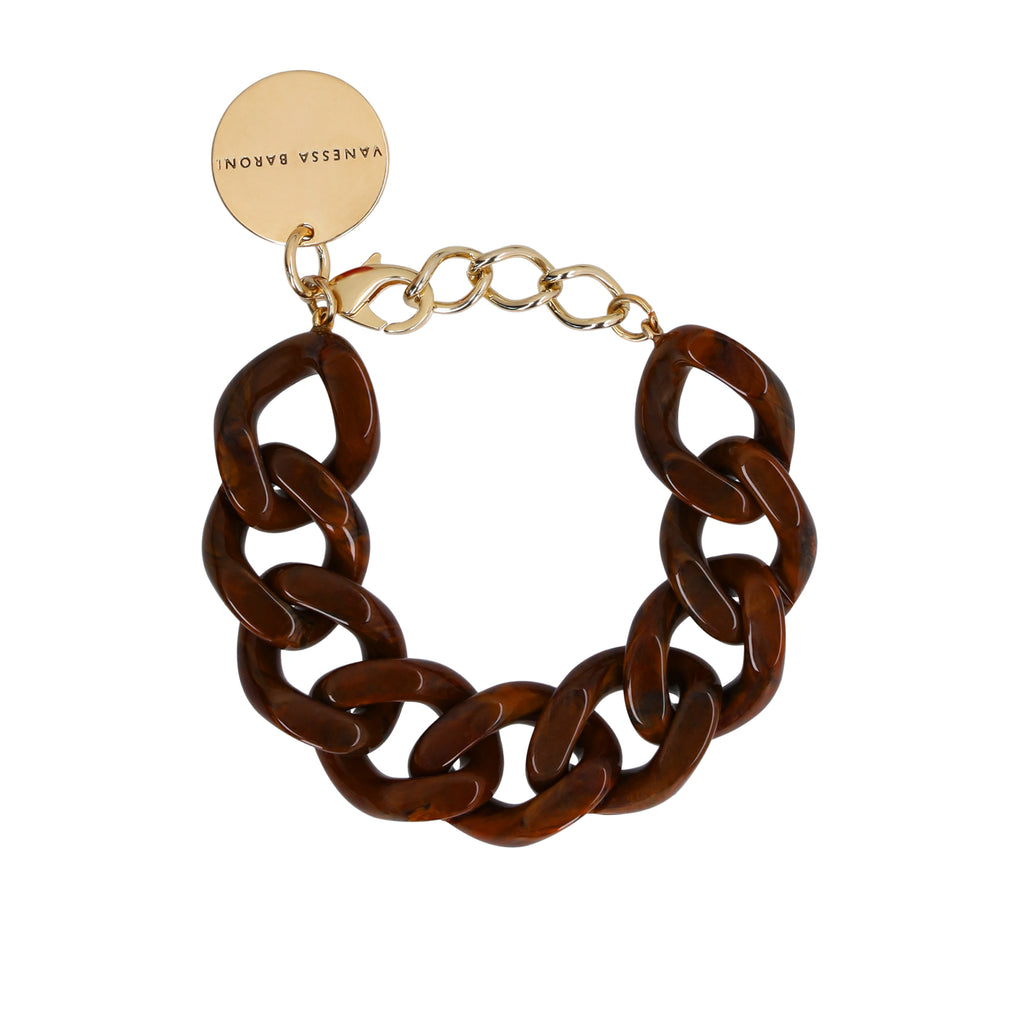 Flat Chain Bracelet wood brown