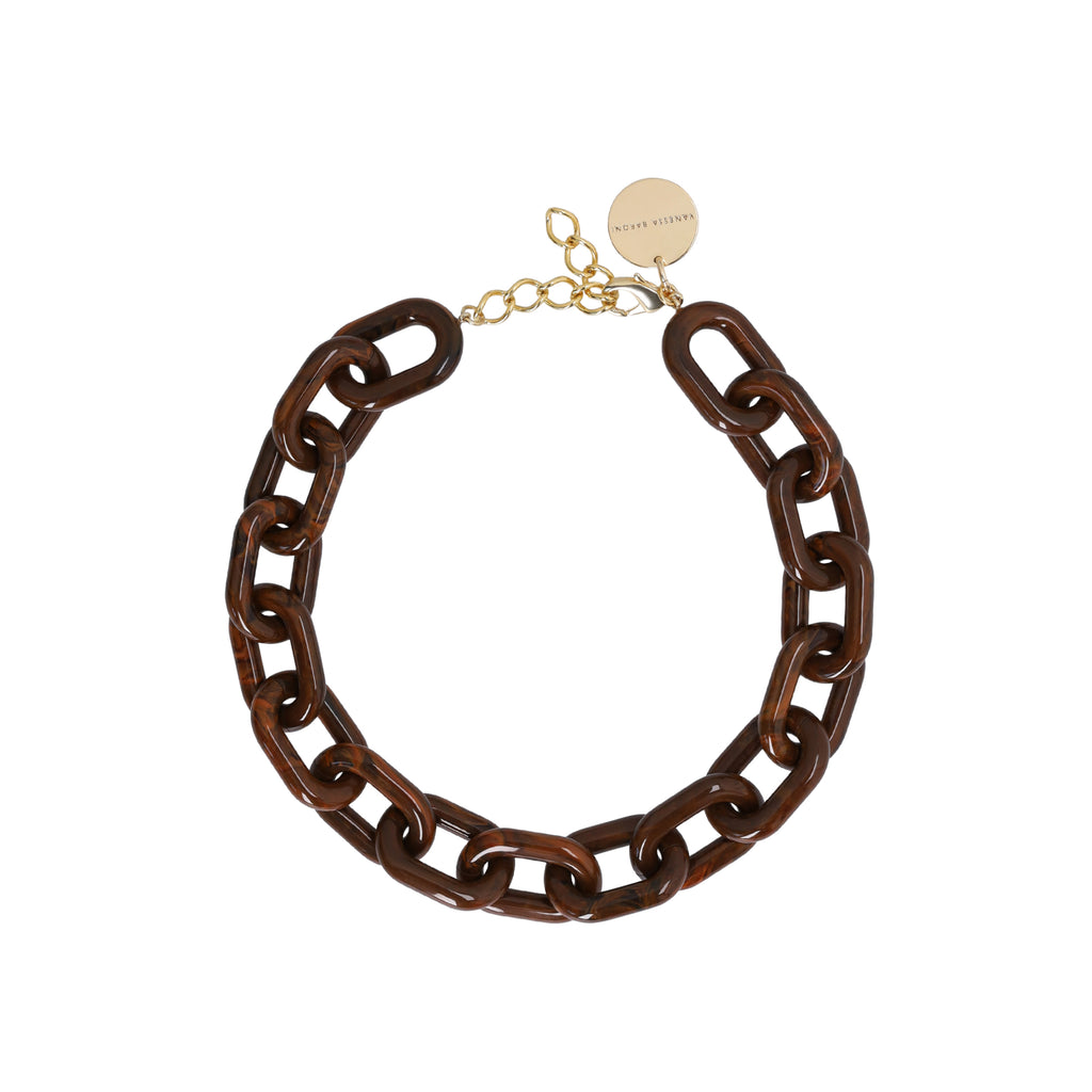 Easy Piece Necklace Short wood brown