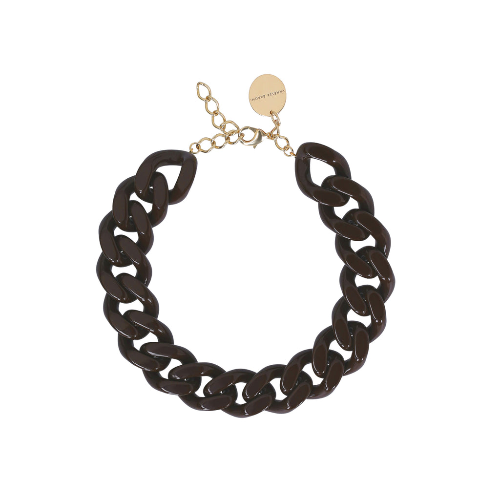 BIG Flat Chain Necklace chocolate