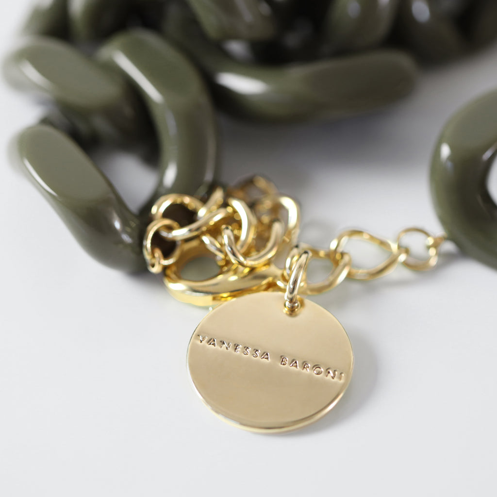 BIG Flat Chain Necklace olive