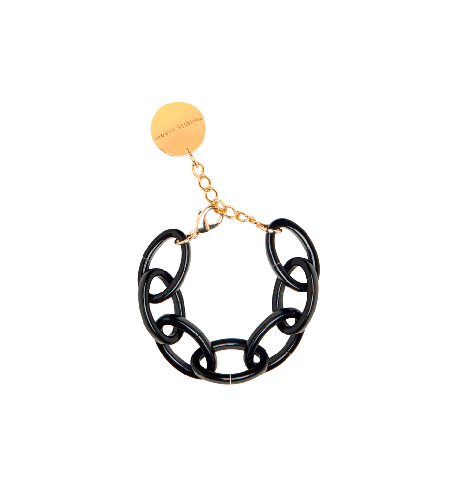 Oval Chain Bracelet black