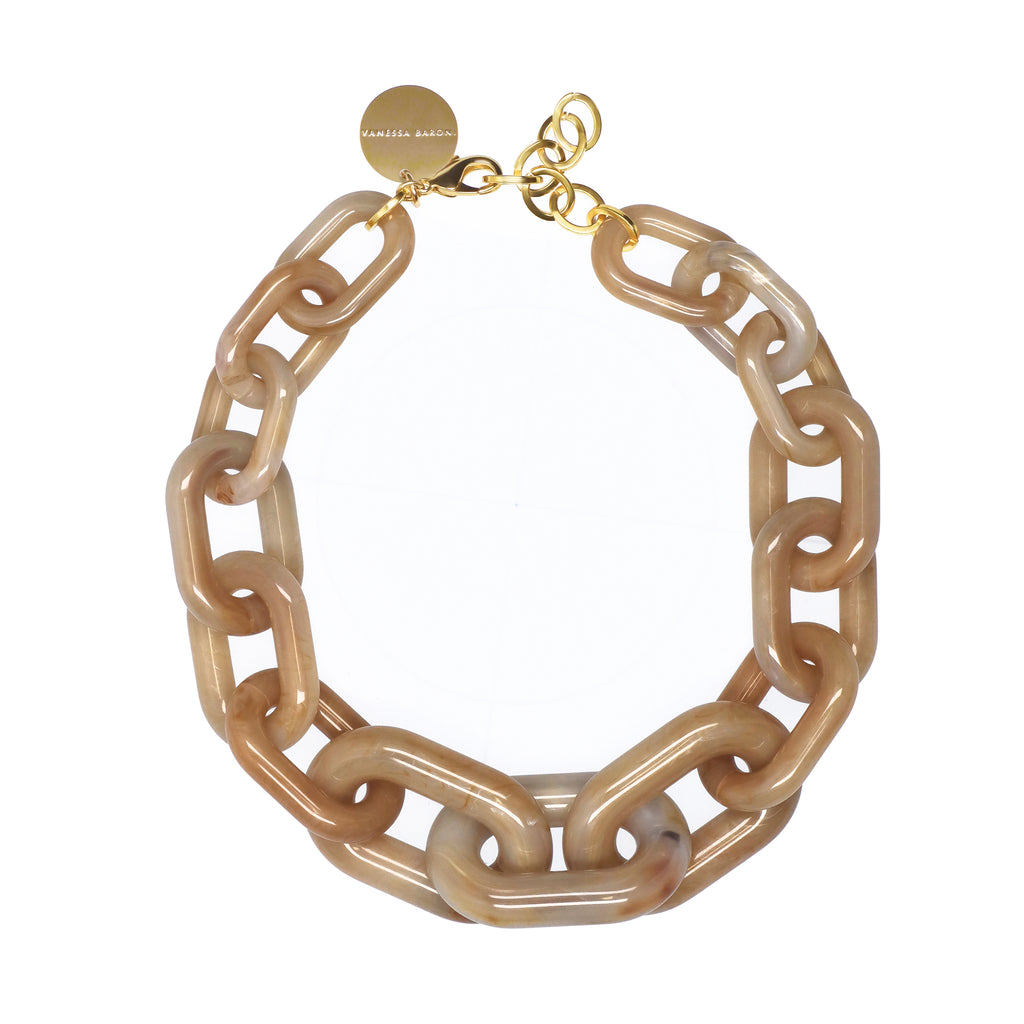 Big Chain Necklace beige marble
