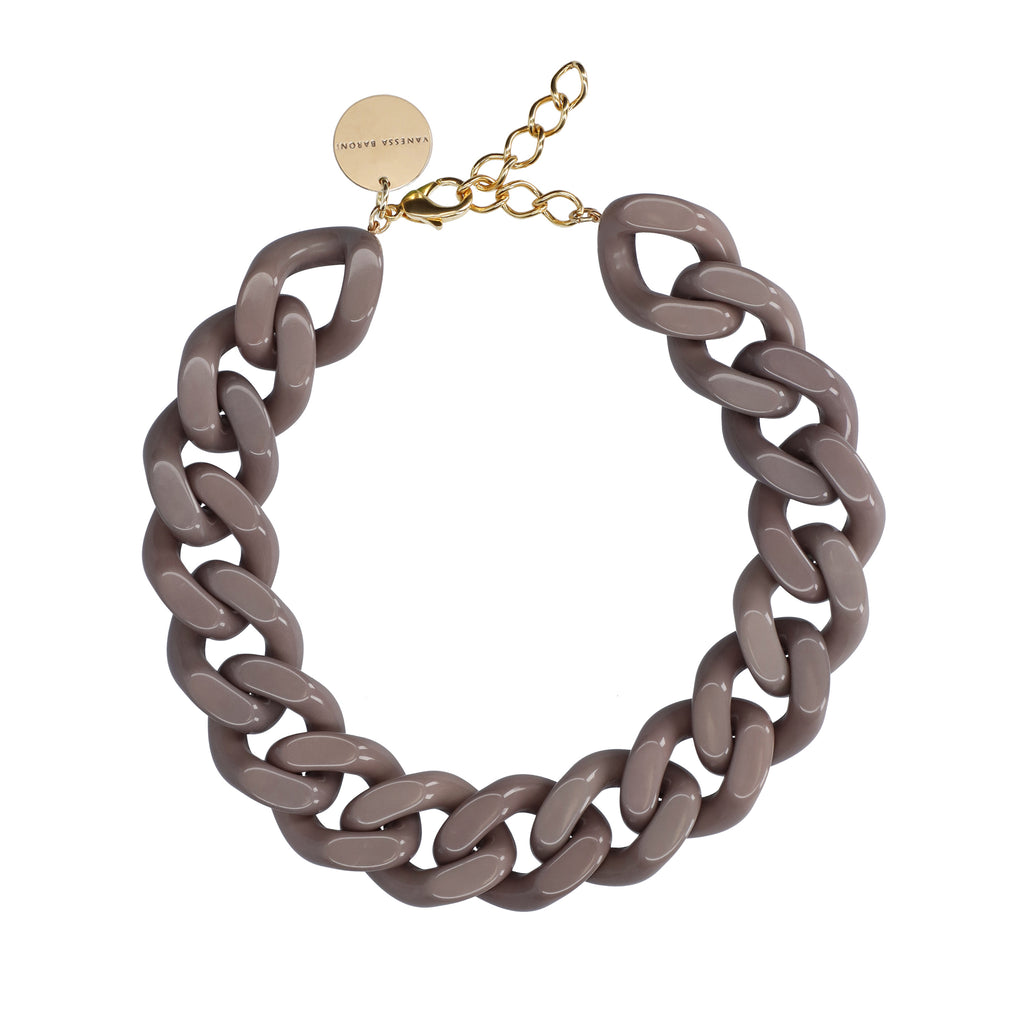 BIG Flat Chain Necklace dark taupe