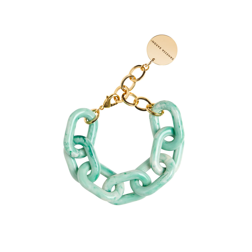 Big Chain Bracelet green marble