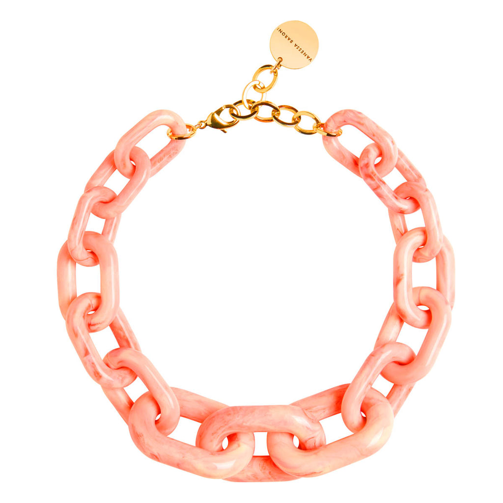 Big Chain Necklace apricot marble
