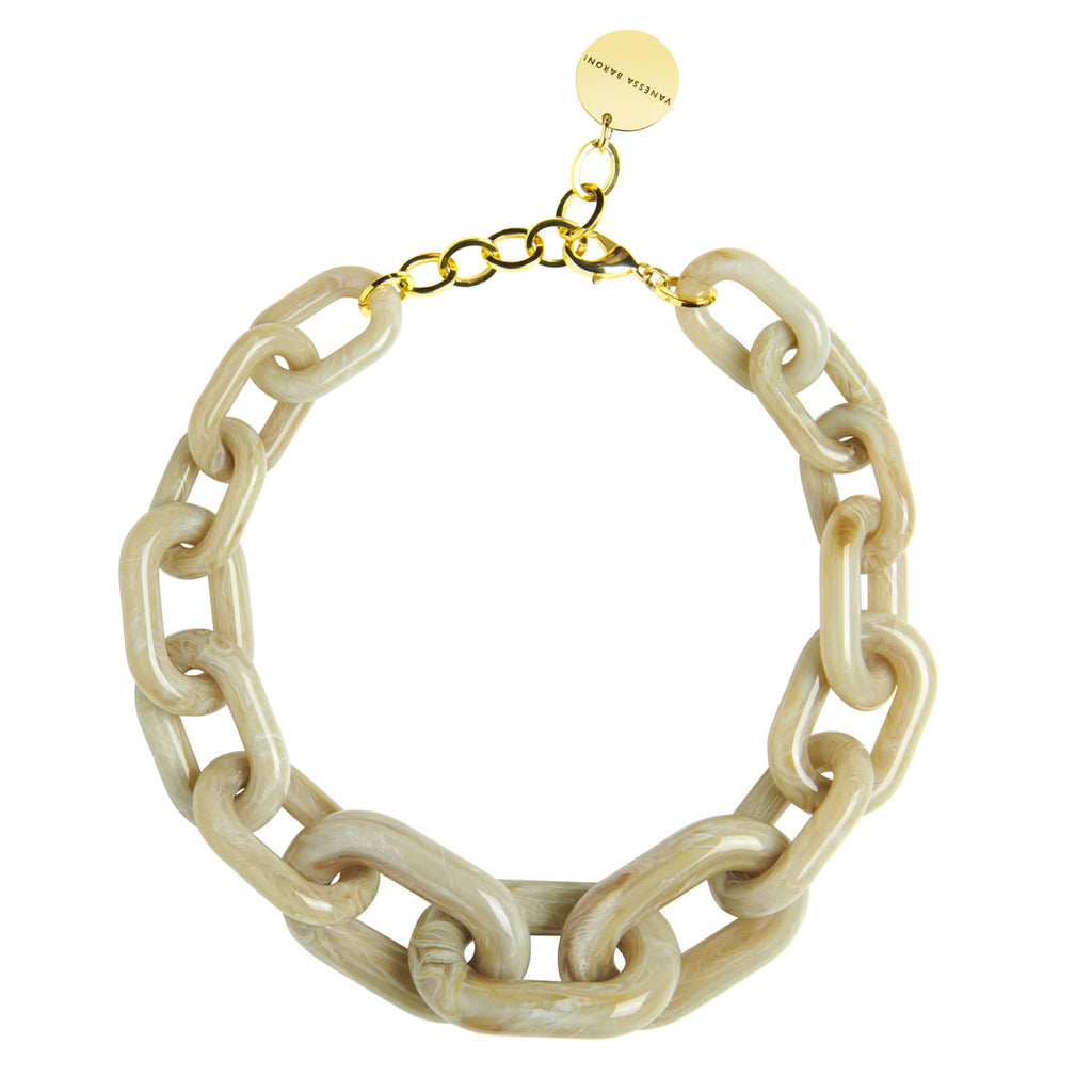 Big Chain Necklace olive marble