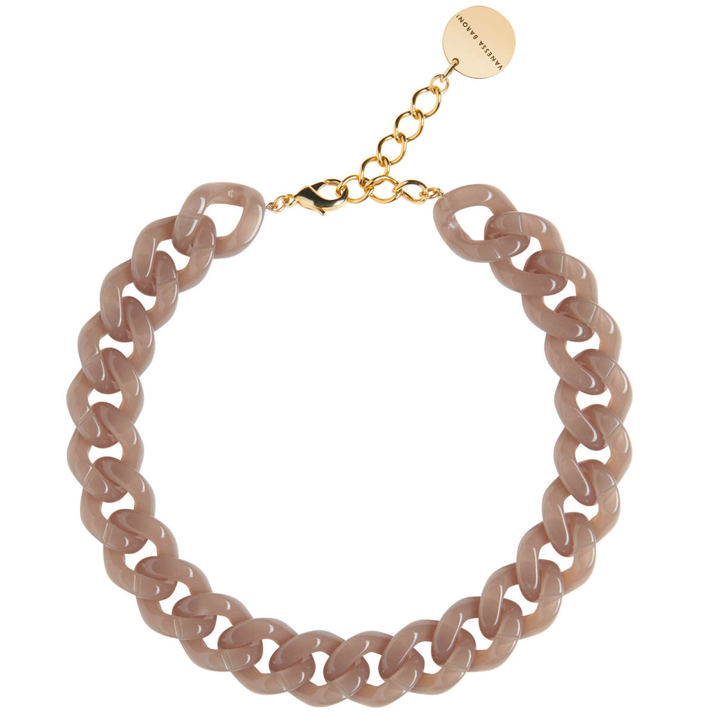 Flat Chain Necklace taupe opalin