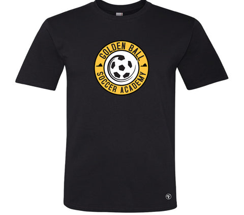 Golden Ball Soccer Player Performance Tee with Number
