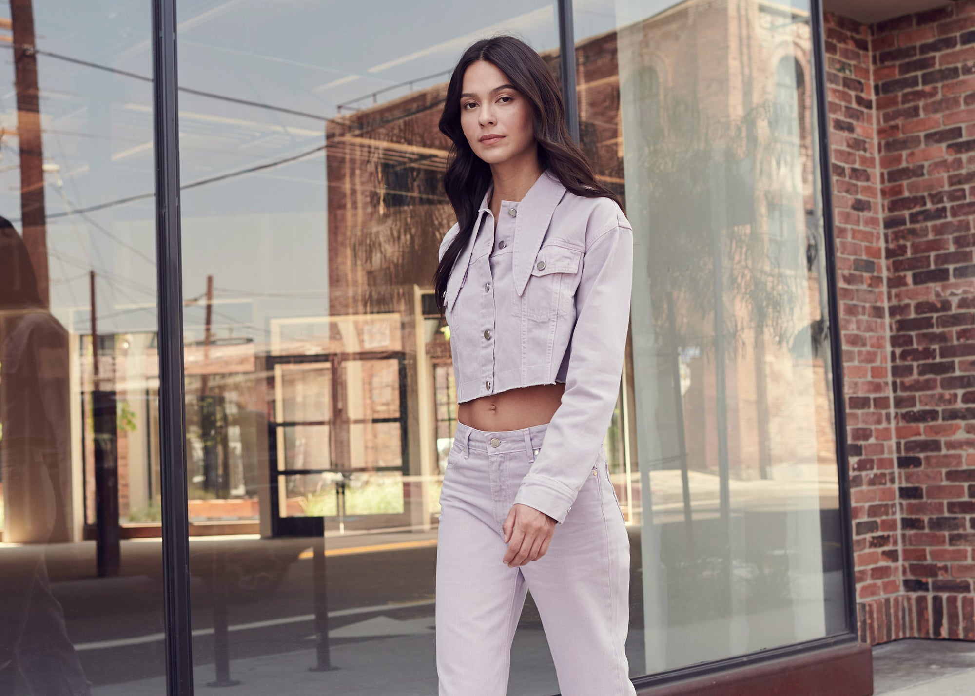 Pastel Denim Set in Frosted Lilac