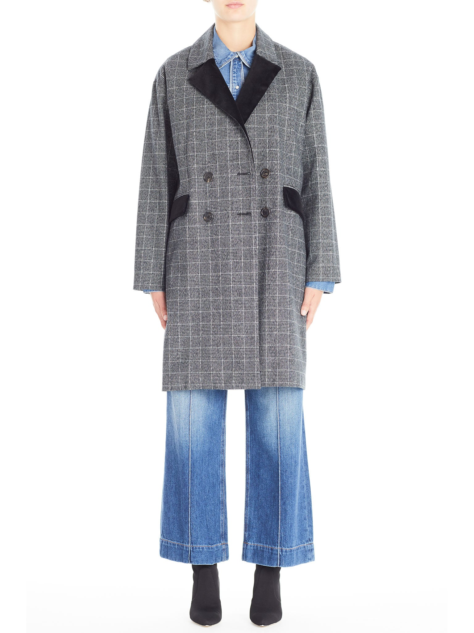 Oversized Coat in Italian Brushed Plaid With Velvet Contrast