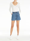 Reese Pleated Denim Shorts