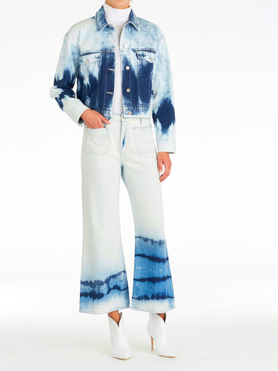 Crop Tie Dye Denim Jacket