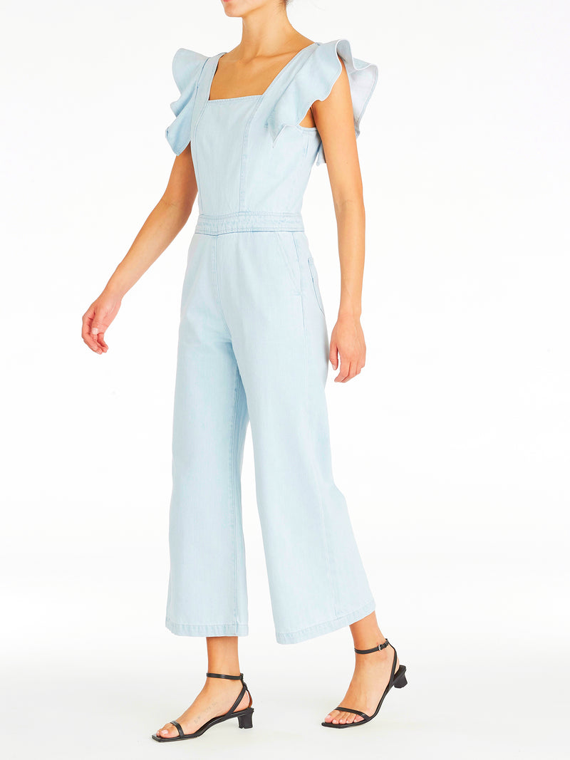 Violet Ruffle Denim Jumpsuit