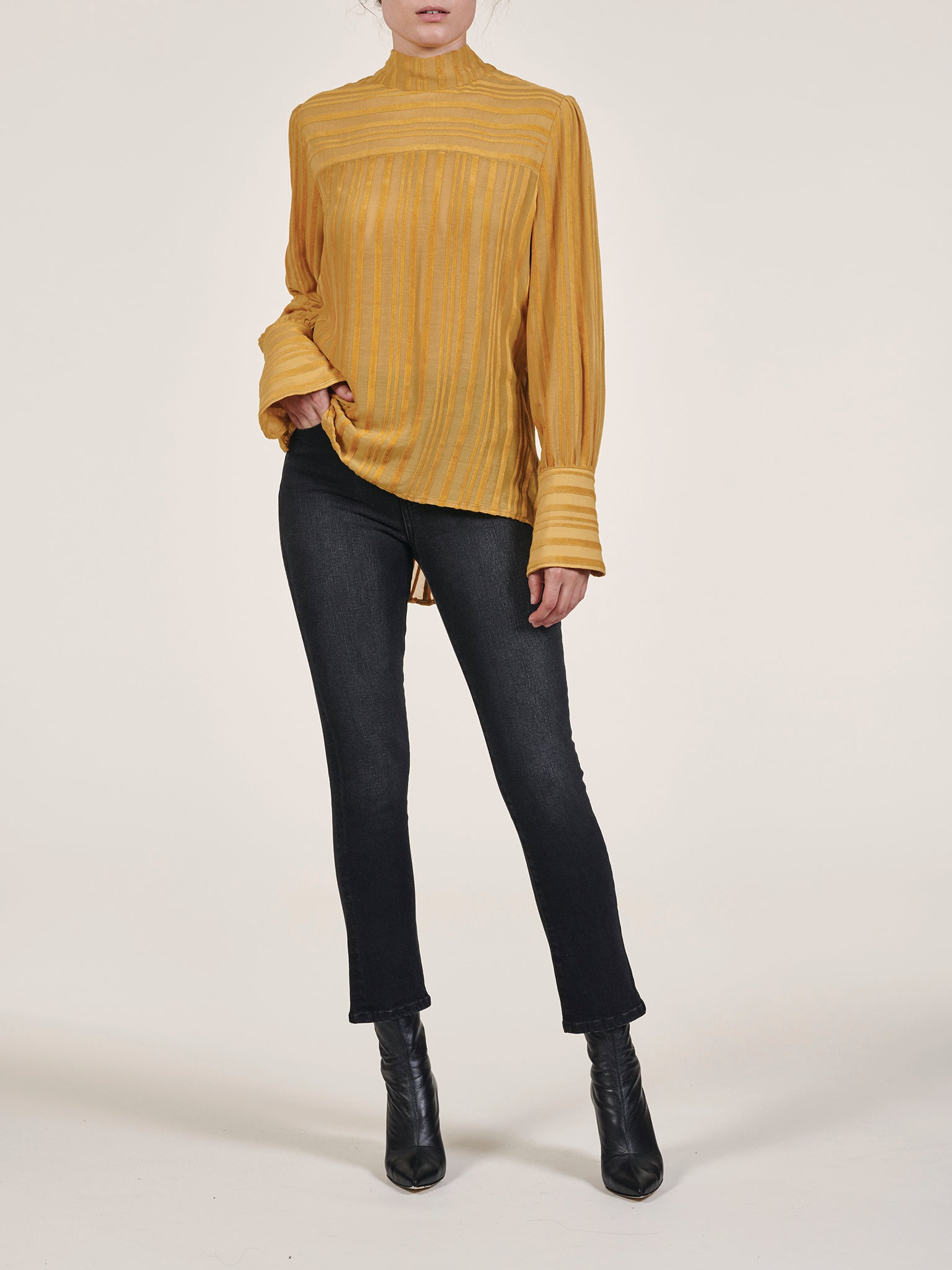 Deep V-Back Tie Neck Blouse