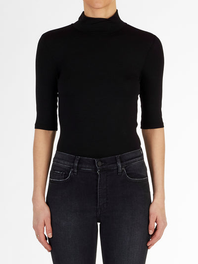High Neck Half Sleeve Italian Fine Viscose Jersey Top in Black