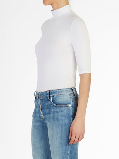 High Neck Half Sleeve Italian Fine Viscose Jersey Top in White