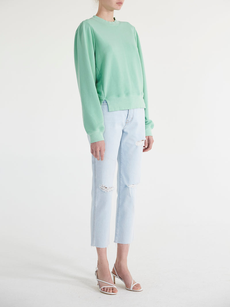 French Terry Pleated Sleeve Sweatshirt