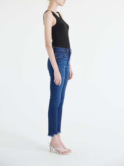 High Waist Skinny Jeans With Raw Hem