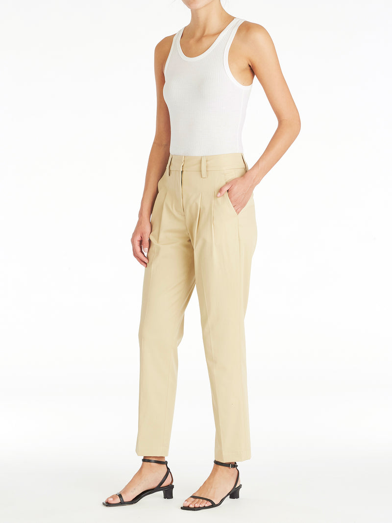 Christy Pleated Cotton Tapered Pants