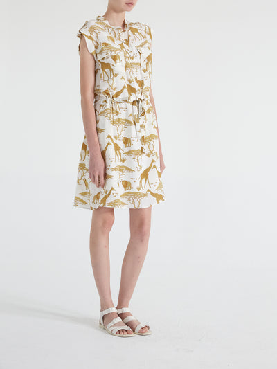 Jamie Drawstring Waist Silk Crepe Safari Dress