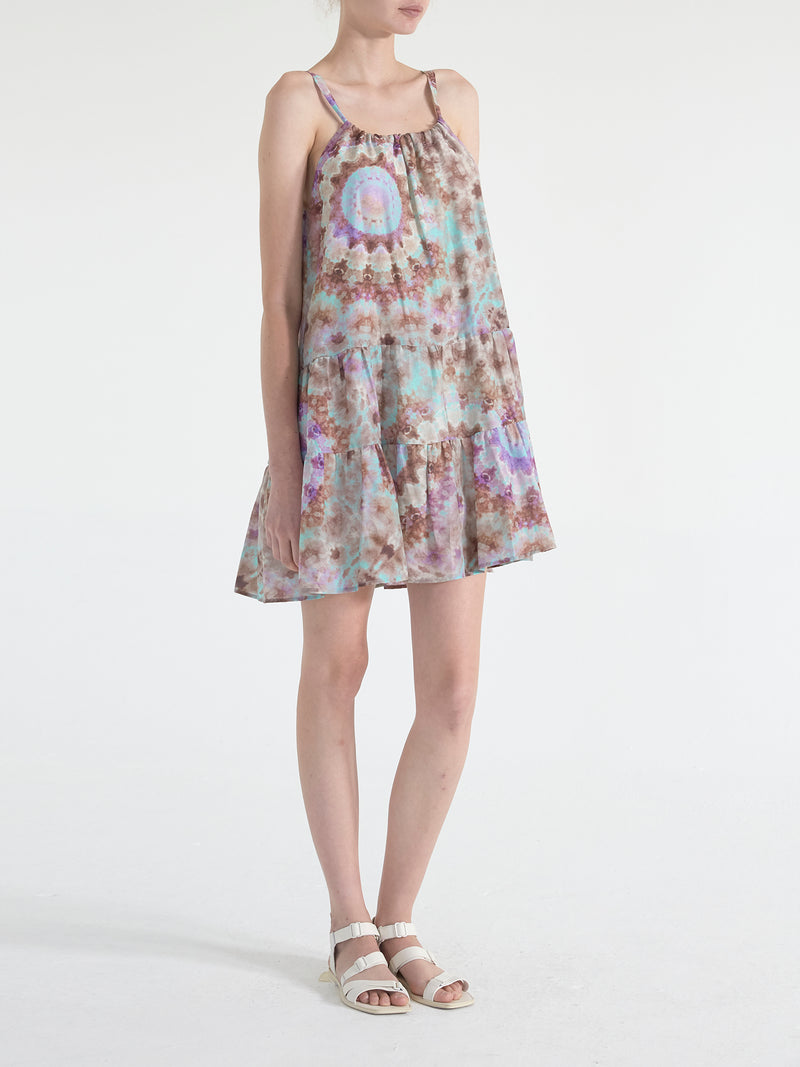 Tie Dye Venice Gathered Mini Dress