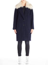 Wool Blended Oversize Coat With Detachable Collar