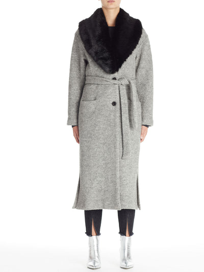 Belted Soft Coat With Detachable Fur Collar