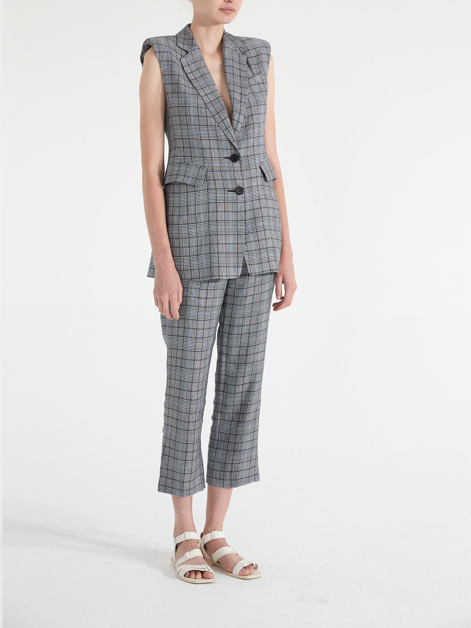 Linen Plaid  Tailored Vest