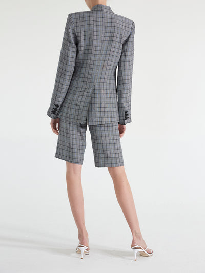 Milano D-breasted Linen Blend Plaid Blazer