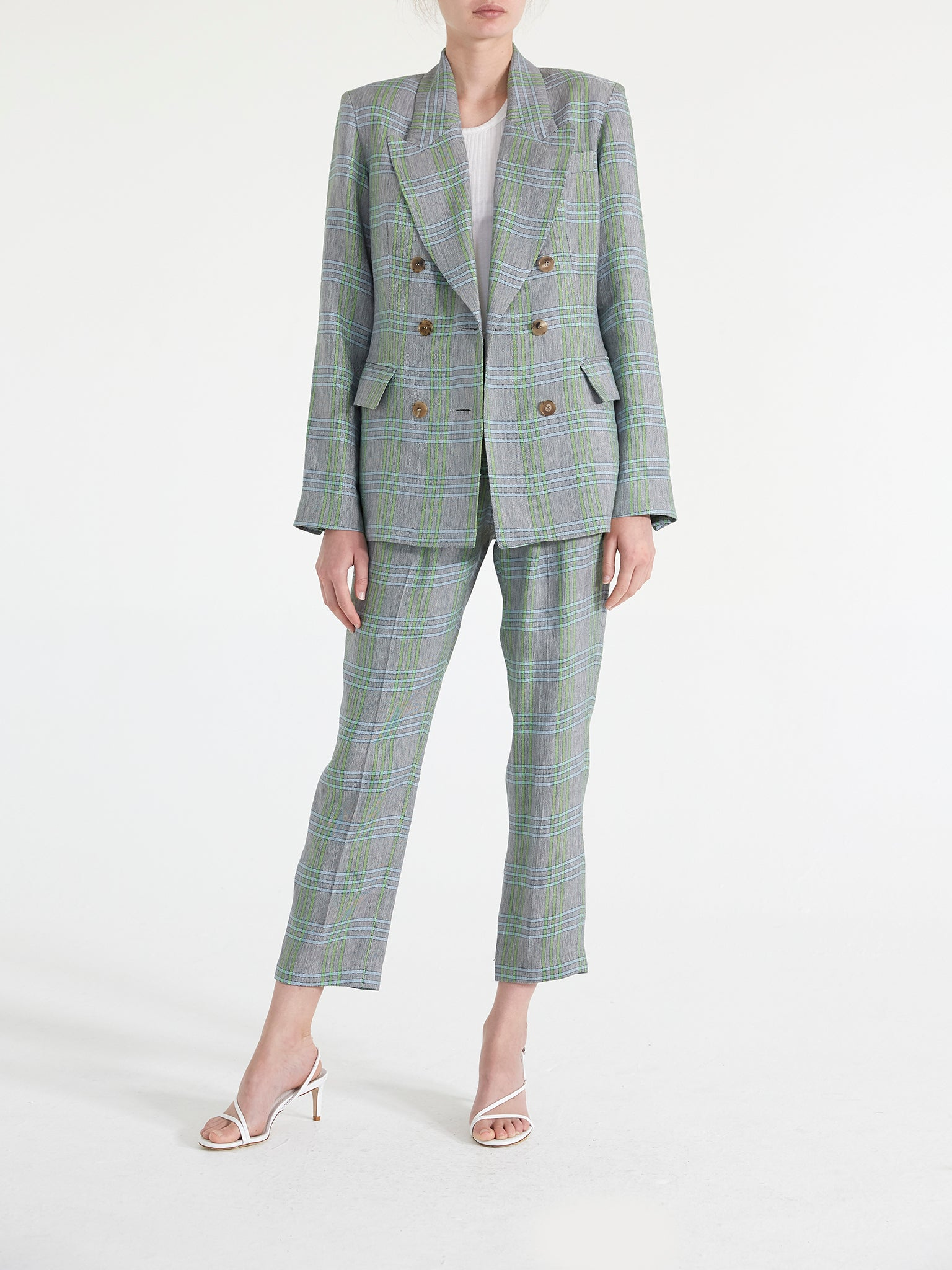 Milano Linen Plaid Double Breasted Blazer