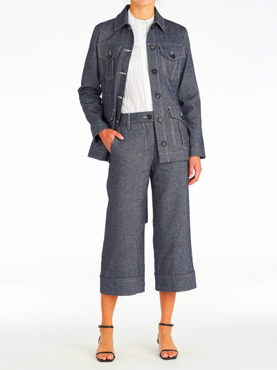 Alexa Linen Denim Utility Jacket