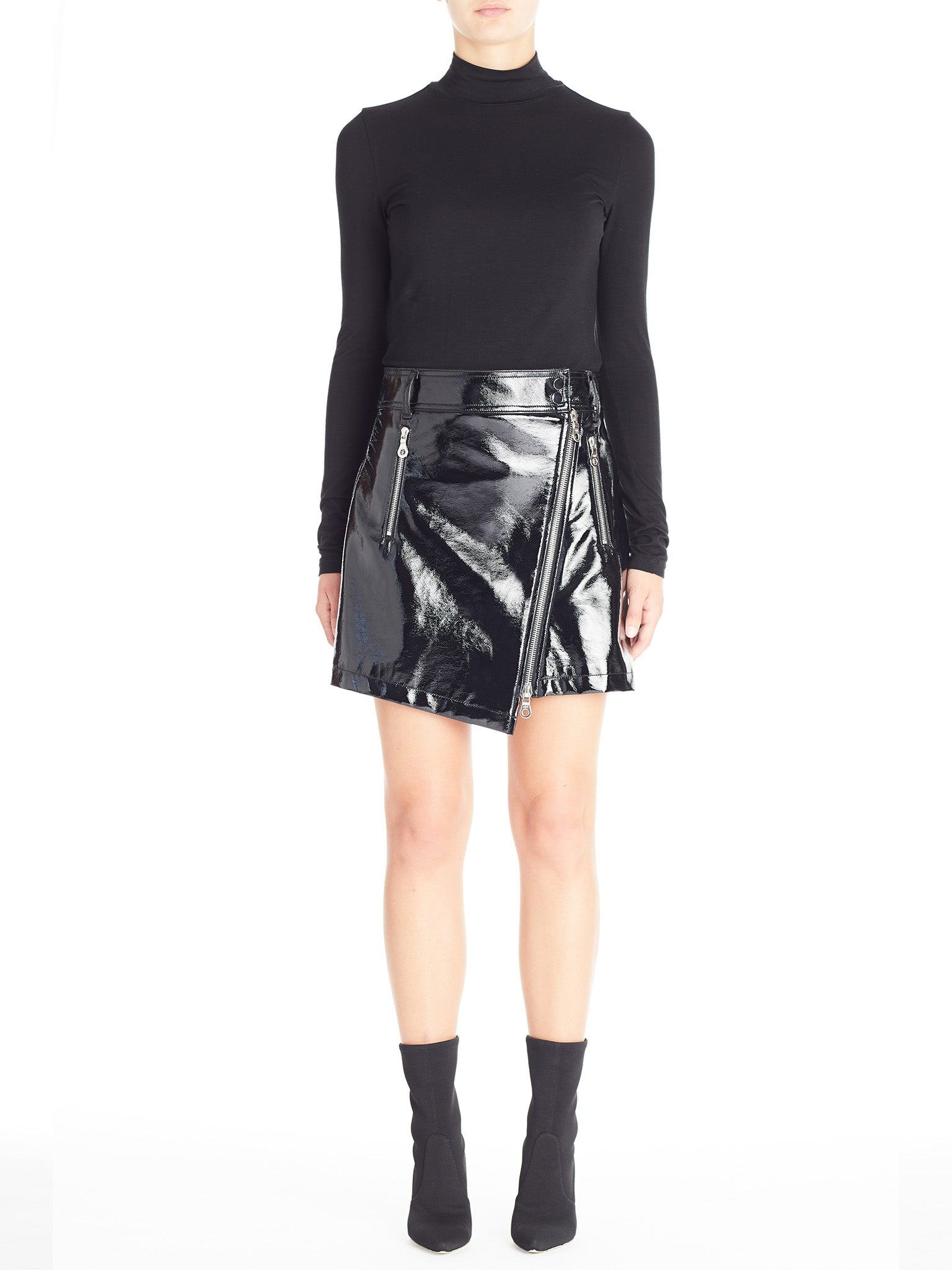 Asymmetric Zipped Front PU Skirt