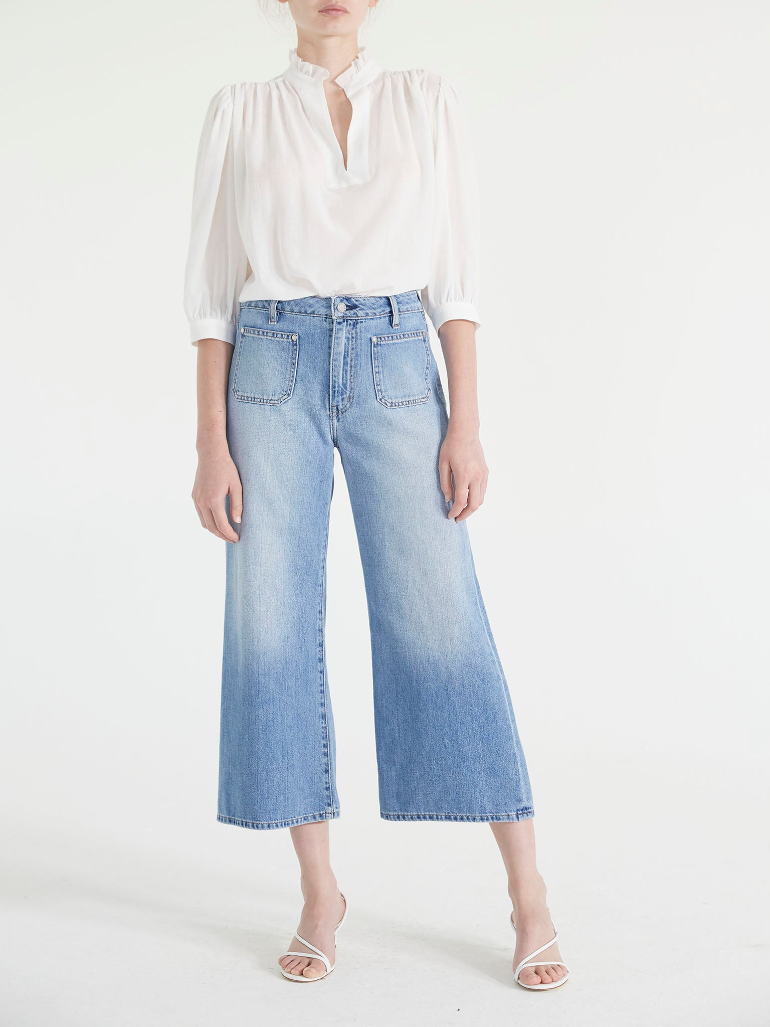 NATALIA PATCH POCKET WIDE CROP JEANS